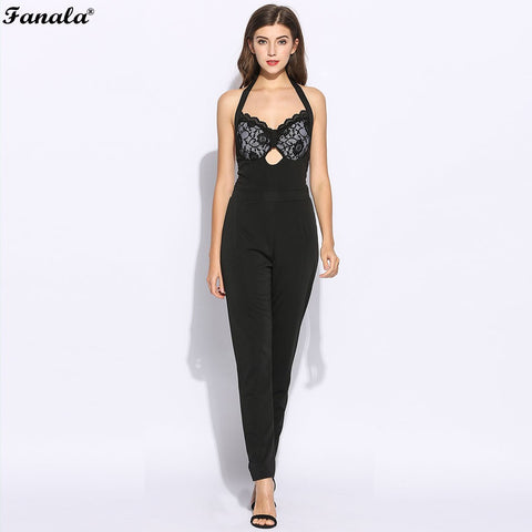 FANALA Women Jumpsuit Romper Summer Sexy Lace Corset Sleeveless Halter Jumpsuits V Neck Print Long Rompers Womens Jumpsuit 2017