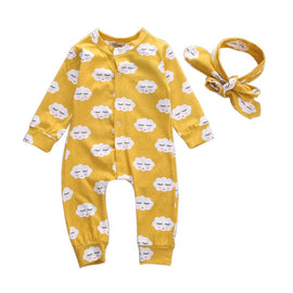 New Baby Kids Boys Girls Cloud White Long Sleeve Romper Overalls + Headband 2pcs