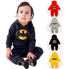 Autumn Winter Baby Rompers Long Sleeve Baby Hooded Jumpsuits Newborn Infant Sleepers Toddlers Overalls Halloween Batman Costume