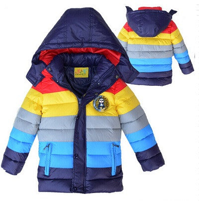 Boys Winter Jackets Stripe Clothes Children Outerwear Kids Jacket Clothes Baby Boys Parkas Coat Leather Clothing Overall Hoodies