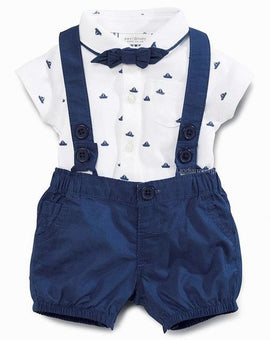 mini gentleman baby clothing set baby boy short sleeve t-shirt with bow + overalls newborn clothes