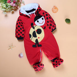 2016 Animal Style Hooded Baby Romper Autumn Boys Girls Clothes Outfits Long Sleeve Thicken Cotton Newborn Clothing Baby Overalls
