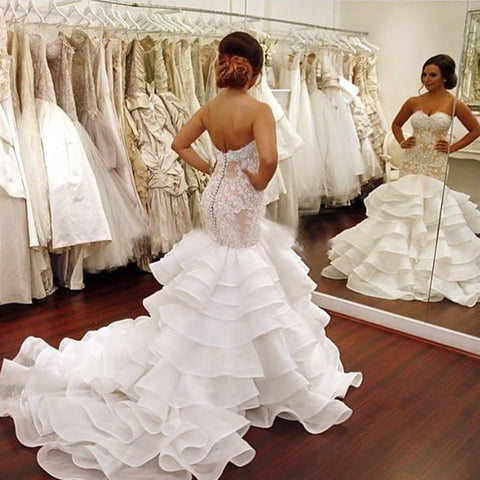 Mermaid Wedding Dresses Plus Size 2017 Sweetheart White Tiered Sleeveless Tiered Court Train Organza Cheap Custom Bridal Gowns