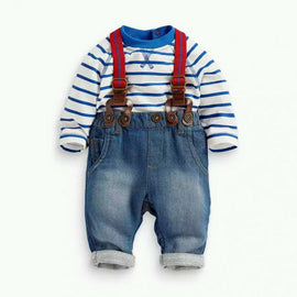 2PCS Kids Boy Toddler Long Sleeve Stripe T-shirt Tops Jeans Bib Overalls Pants