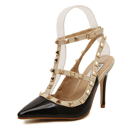 New 2017 Summer Fashion Lady Sexy Women Pumps Pointed Toe Sandals Slingback Studded T-Strap Rivet High Heels Wedding Shoes Woman