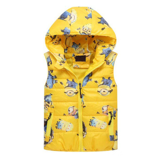 Minion Winter Vest Children Clothing Hooded Baby Girl Clothes Cotton Cartoon Boys Outerwear Cotton Girls Jacket Costume For Kids