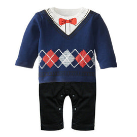 Retail Baby Boy Rompers One-Pieces Long Sleeve Gentleman Overalls Infant Spring Autumn Clothing Set Next Baby Boy Clothes