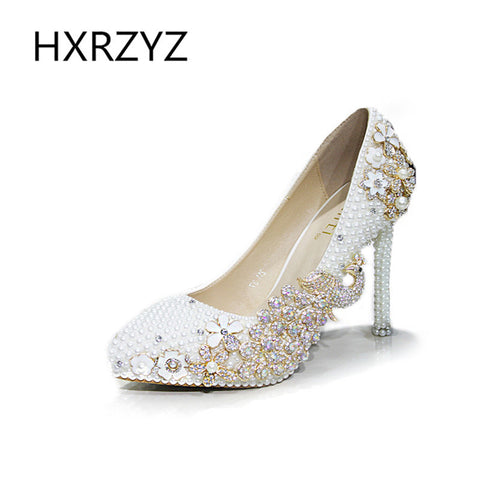Shoes Women Handmade White Pearl Crystal Rhinestone High Heels Lady Fashion Elegant Wedding Shoes Dress shoes Pointed Toe Pumps