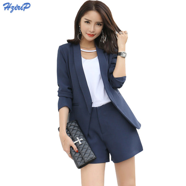 2017 Work Wear Short Pants Suit Women Summer Autumn Long-sleeved Blazer with Shorts OL Office Ladies Formal Suits Navy Khaki