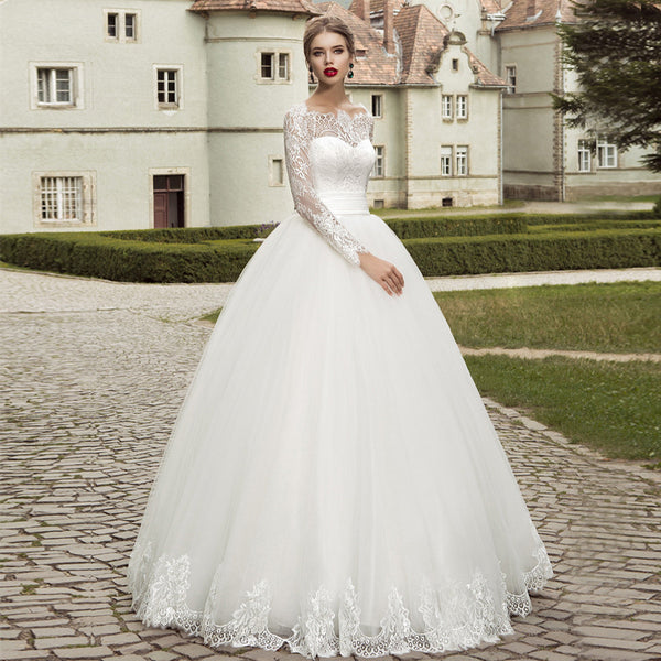 ADLN 2017 In Stock Long Lace Sleeve Wedding Dress Ball Garden Applique Mulsim Bridal Gowns Cheap   with Bow Back