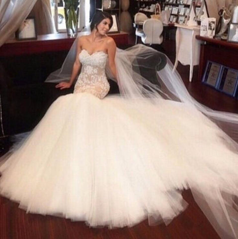 New Arrival Mermaid Wedding Dresses 2017 vestidos de novia Court Train Sexy Bridal Dress White Dress Lady Gowns Appliques M2759