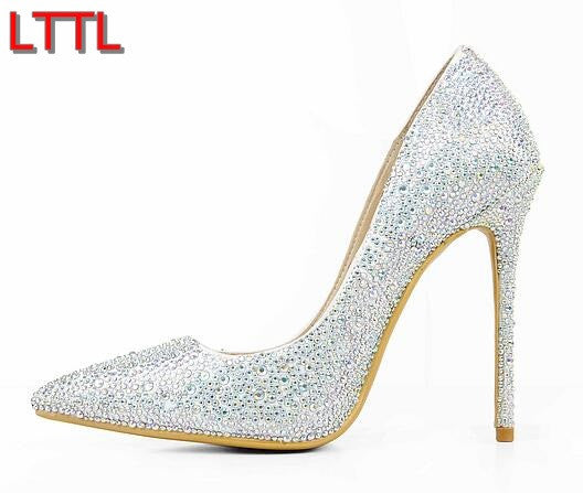 2017 shoes Point Toe Pumps Rhinestone High Heels Wedding Shoes Women Bling Bling Thin Heel Sexy Lady Dress Shoes White Pump