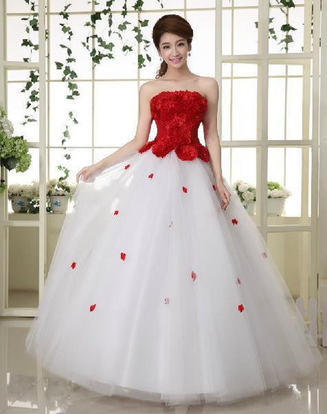 2017 Free Shipping New A Line Flowers Sleeveless Red Satin Bridal Wedding Dress Wedding Gown Vestido De Noiva 10004