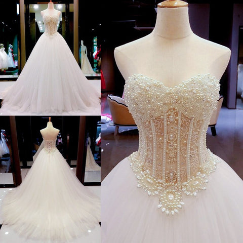 2017 luxury pearl handmade customizable wedding dress tube top elegance off shoulders bandage bridal gown