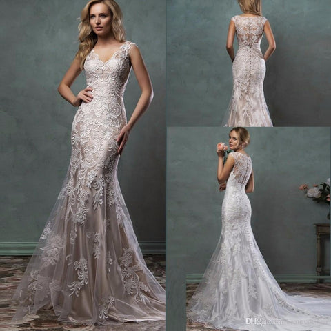 2016 Lace Wedding Dresses Mermaid Trumpet Amelia Sposa Bridal Gowns With Scoop Sheer Tulle Back Covered Button Court Train