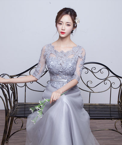 Bridesmaid New Winter Custom Made A Line Cheap 2017 Vestido De Festa Party Dress Bridal Gown Half Sleeves Slim Dress