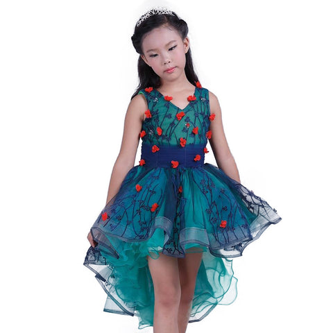 Kids Infant Girls sleeveless Princess Dress bow Lace wedding Bridal Tulle Formal Party Trailing dress 12 year