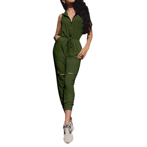 2017 Summer Rompers Womens Jumpsuit Sexy Sleeveless Hooded Playsuit Ladies Casual Solid Elastic Waist Pockets Hole Overalls