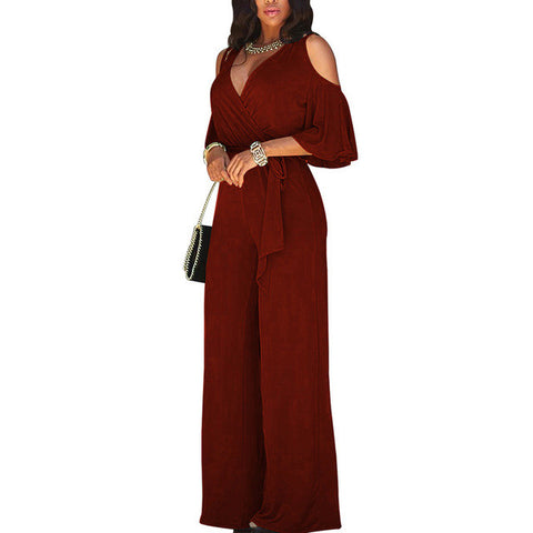 Wide Leg Elegant Jumpsuits Romper 2017 Women Sexy Deep V High Waist With Belted Overalls Summer Long Jumpsuits Femme