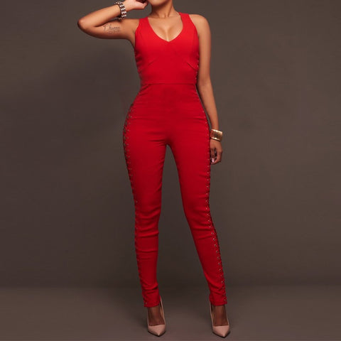 2017 Womens Jumpsuit Summer Rompers Ladies Solid Bandage Hollow Out Zippers Slim Overalls Sexy Sleeveless V Neck Playsuit