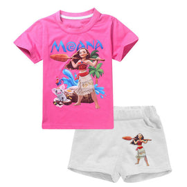 MOANA Elsa Anna Sets Tracksuit For Girls Kids Clothes Sets Summer Boys Sport Suit Short Sleeve Girls Childrens Clothing Costume