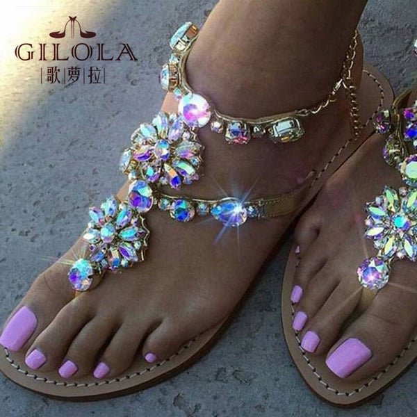 women sandals rhinestone sexy gladitor ladies flat sandals crystal women summer shoes woman slip on best quality #Y0614128Q