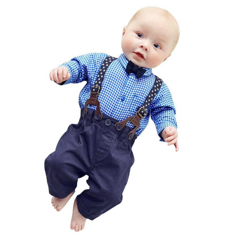 Baby Boys Pants Sets Plaid T-shirt Top Bib Pants Overall Outfits For 0-3 Years Kids Boy High Quality