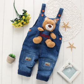 New Fashion Spring Baby Unisex Cowboy Overalls Dark Blue with A Cute Cartoon Bear Suitable for 1-3 Years Kids ATST0113