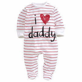0-3Y Baby Cotton Long Sleeves Striped Love Mummy Daddy Overalls Clothes SJ02B