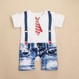 Fashion Baby Clothes Newborn Kids Boys Infant Short Sleeve Overalls Romper