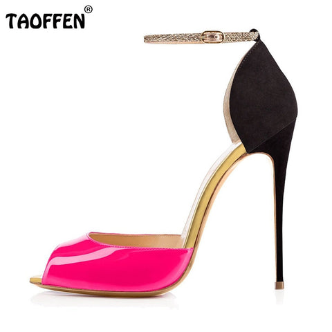 Women Ankle Strap Thin Heel Sandals Woman Fashion Open Peep Toe Shoes Sexy Lady Back Strap Party Heeled Shoes Size 35-46 B262