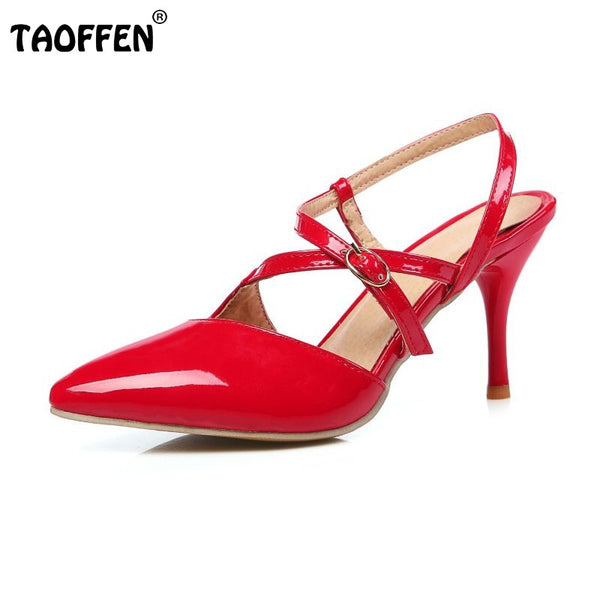 Size 30-47 Ankle Straps High Heels Sandals Summer Shoes Sexy Ladies Pointed Toe Patent Leather Party Wedding Shoes PA00590
