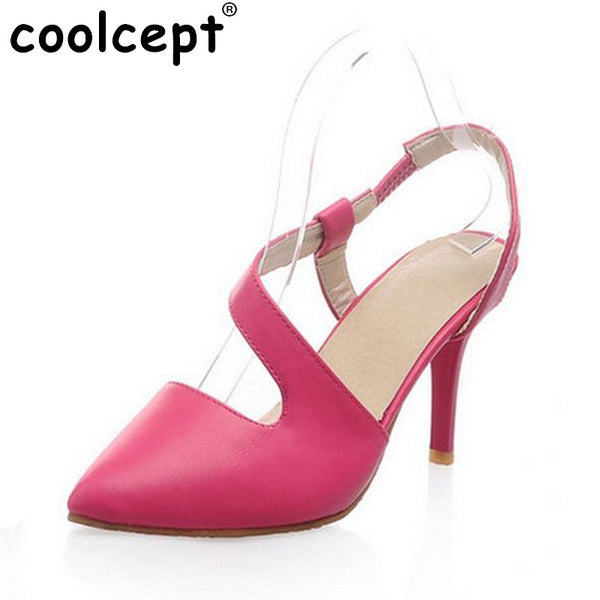 Simple Women Ankle Cross Lacing Uper High Heel Sandals Female Sexy Ladies Cutout Pointed Toe Single OL Shoe Size 34-43 PA00397