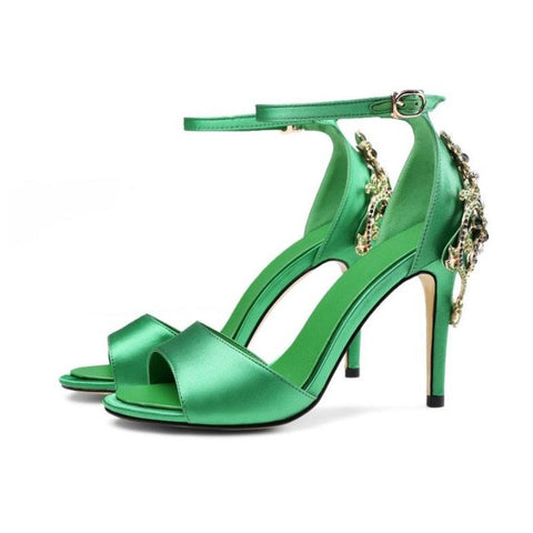 Coolcept Size 34-43 Ladies Genuine Leather High Heel Sandals Women Ankel Strap Rhinestone Summer Shoes Sexy Club Female Sandal