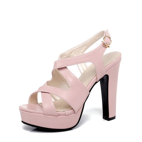 QUTAA 2017 Women Sandal High Heel Platform Women Shoes Slingback Peep Toe PU Leather Buckle Ladies Wedding Shoes Size 34-43