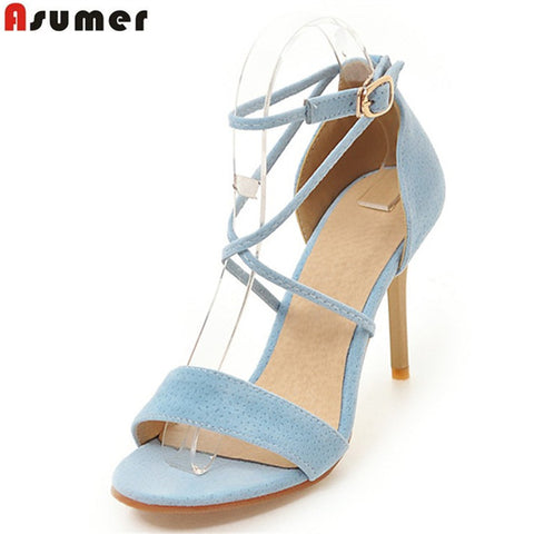 Asumer fashion new arrive women summer high heels shoes elegant flock solid ladies sandals sexy narrow band buckle prom shoes