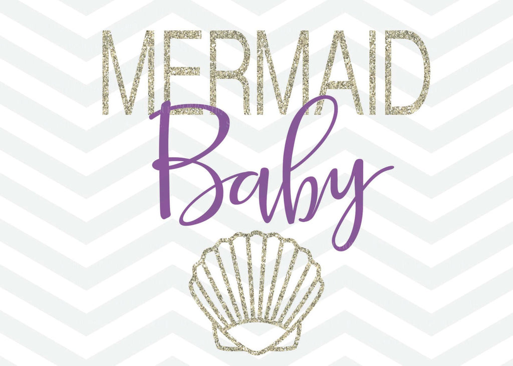Mermaid Baby SVG File, Mermaid Cut File, Seashell, Vector, Cutting File, PNG, Cricut, Silhouette, Vector Files, Clip Art, Vector File