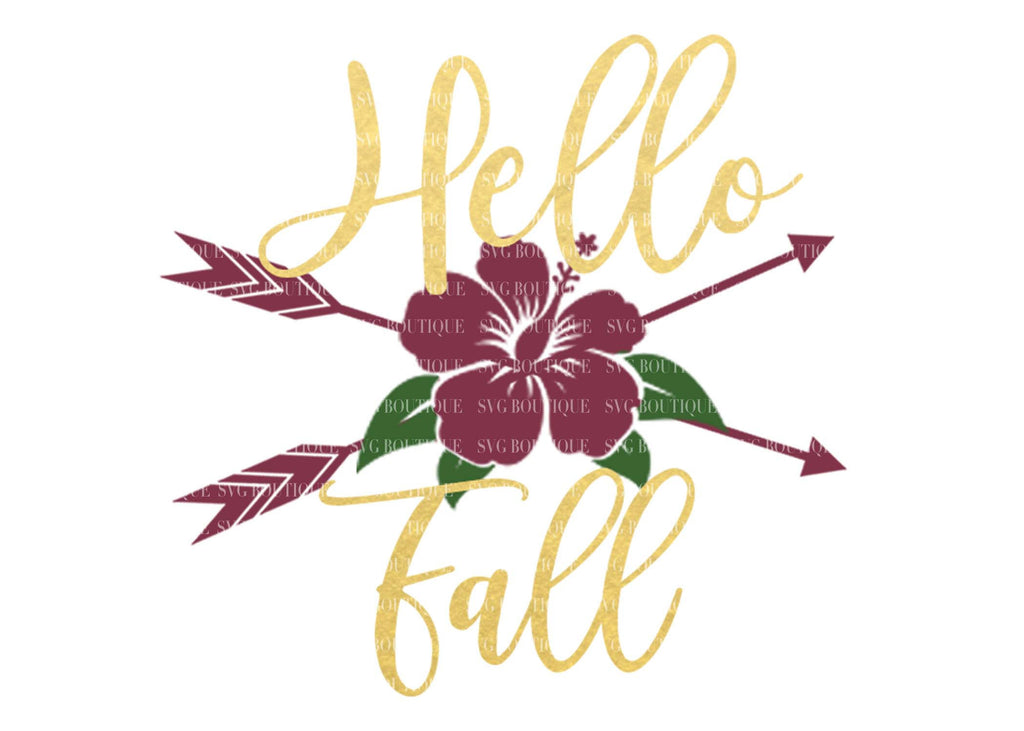 Hello Fall SVG File, Fall Cut File, Autumn, Thanksgiving SVG File, SVG File, Tribal Arrow Cut File, Cricut, Silhouette, Thanksgiving, Floral