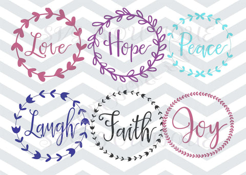 Laurel Wreath Bundle SVG File, Circle Frame Bundle SVG, Sayings svg Cut Files, Bundle SVG, Quote Overlay, Cricut, Silhouette, Iron On Vector
