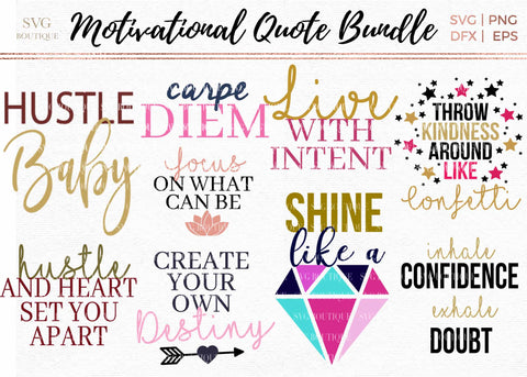 Motivational Cut File Bundle in SVG PNG DFX EPS Formats