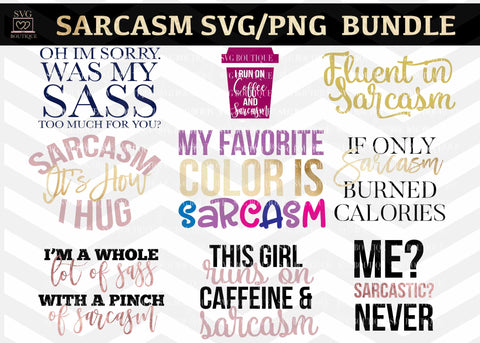 Sarcasm Cut File Bundle - SVG, PNG, DFX, EPS
