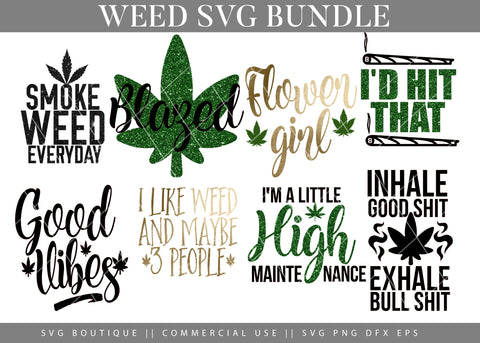 Weed Tray Bundle - 10 Weed/Dope SVG Cutting Files