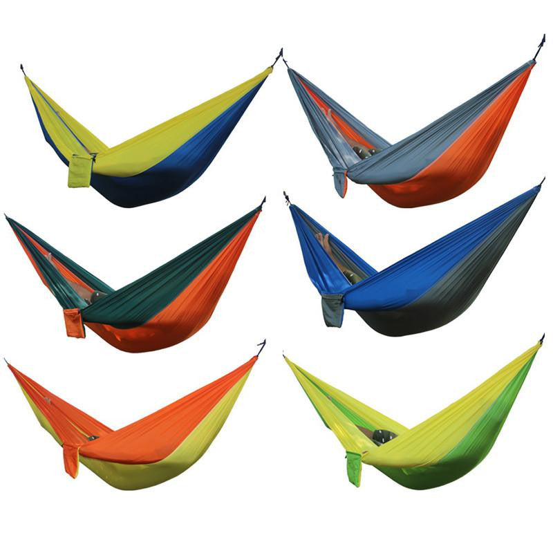 2 Person Camping Garden Leisure Portable Parachute Hammocks