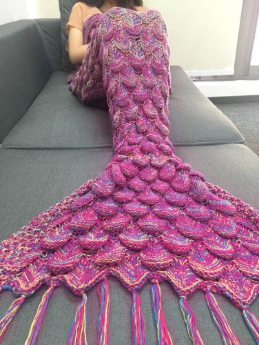 Crocheted Knit Mermaid Tail Blanket