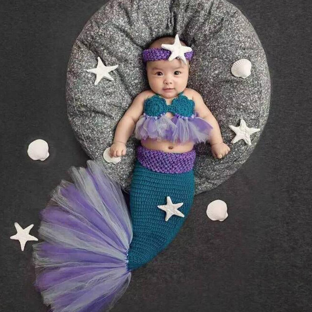 Adorable Baby Knitted Mermaid Outfit 3pcs/Set- Photo Prop