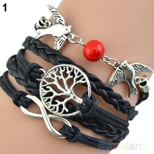 Doves of Peace and Tree of Life Leather Bracelet
