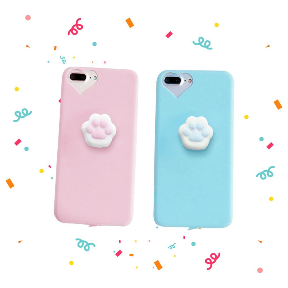 Cute Squishy Cat Paw Case for iPhone 6 6S 7 Plus