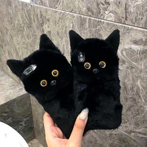 Black Cat Ears Furry Case for iphone 6, 6S Plus, 7, 7 Plus, 8, 8 Plus, X