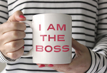I am the Boss, ceramic coffee mug (made in the USA) for the #girlboss in your life (or in you!) from CreatingBeautifully.com