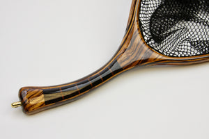 Close up of the curved segmented custom landing net handle.